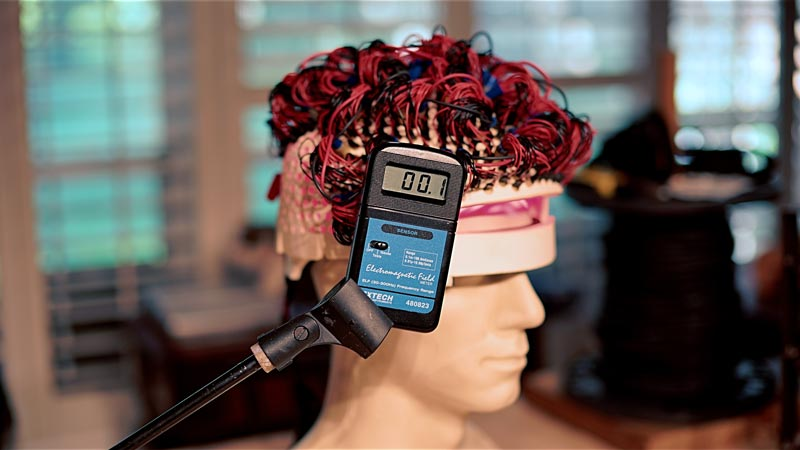 The EMF reading at the point of the laser helmet is the same as the room baseline!