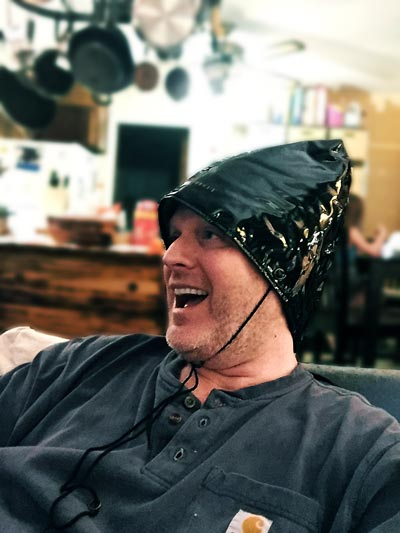 OverMachoGrande wearing his scalp heating cap to help fight hair loss!